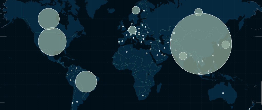 Illustration of existing renewable energy generation around the world from  from Carbon Brief and CartoDB